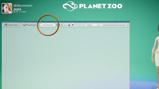 """Im Hauptmenü unter """"Meine Zoos"""" findet ihr einen Button, der euch direkt zum Steam Workshop bringt."""