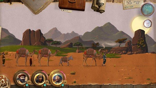 Im 2D-Abenteuer reist ihr auf Handelswegen mit eurer immer größer werdenden Karawane.
