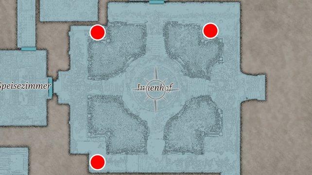 Die Karte zeigt euch, an welchen Stellen die Vasen im Innenhof stehen.