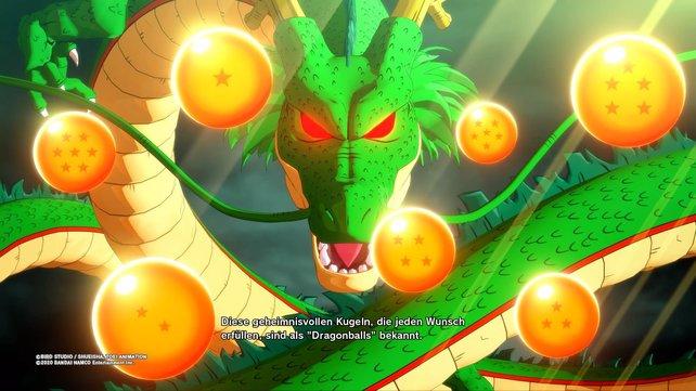 Sammelt alle sieben Dragonballs und lasst euch einen Wunsch von Shenlong erfüllen.