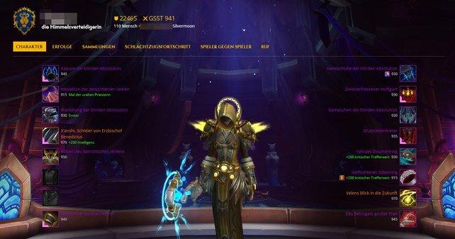 Die WoW Armory bietet einen modernen Überblick über Werte, Ausrüstung und weitere Details eines Charakters.