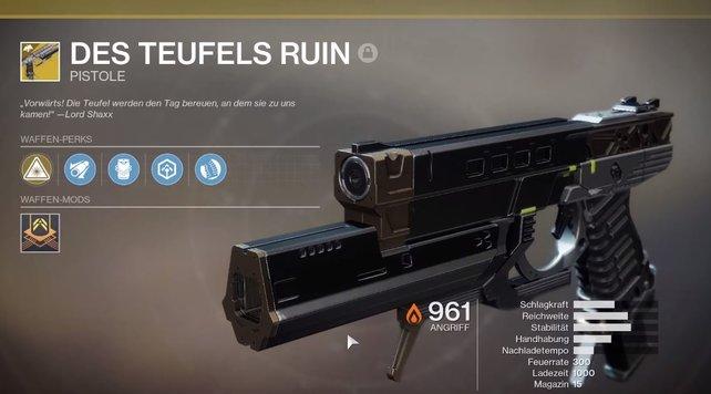 Des Teufels Ruin: Pistole und Fusionsgewehr in einer Waffe vereint.