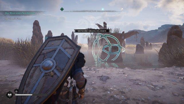 Bei diesem Rätsel müsst ihr etwas Distanz nehmen und auf die linke Seite des Kreises gehen.