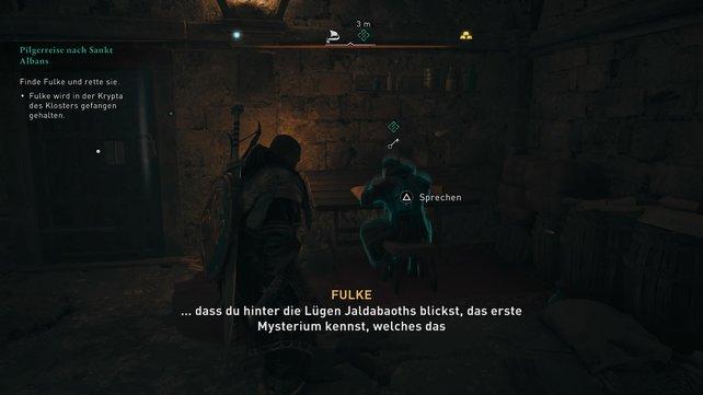Ihr müsst die Krypta betreten und könnt den hiesigen Mönch entweder erst lieb nach den Schlüssel fragen, oder ihn direkt töten.