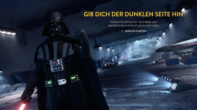 Schöne Idee: Während der Installation dürft ihr schon mal mit Darth Vader Rebellen niederstrecken.