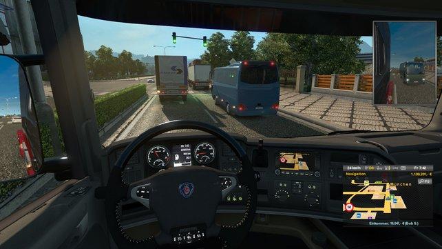 Am Steuer eines dicken Lasters solltet ihr immer auf die Verkehrsregeln achten.