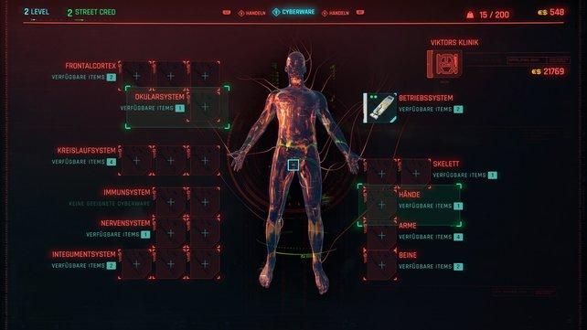 Wählt die jeweiligen Bereiche des Körpers an, die durch eine Cyberware-Modifikation aufgebessert werden sollen.