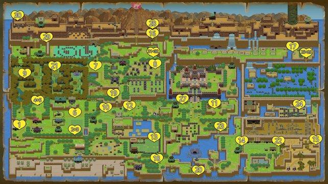 Die Karte zeigt die Fundorte aller 32 Herzteile in Zelda: Link's Awakening