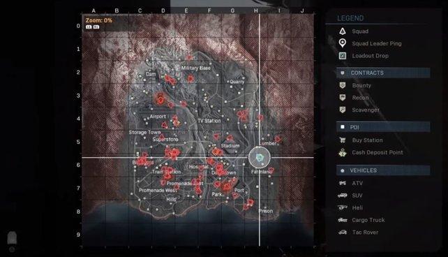 Aufgedeckt! So sieht die Karte aus, wenn drei Drohnen und damit der Orbitalsatellit aktiv sind.