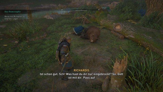 Unterwegs kümmert sich die gutherzige Königin noch um einen verletzten Bären, der sie zum Dank nicht auffrisst.