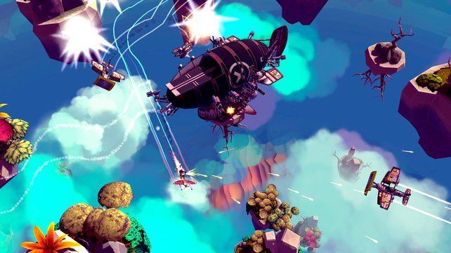 In den Ebenen fliegt ihr zwischen kleinen Inseln, besiegt Piraten und sammelt Materialen.