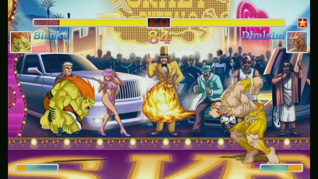 Blanka und Dhalsim kämpfen im bunten Las Vegas.