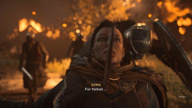 Nach seinem Sieg über Godwin wird Eivor Zeuge wie die Jarlskona Soma verbissen kämpfend ihr blutiges Ende findet.