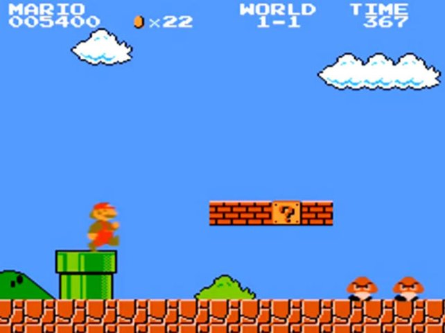 Marios Kleidung ist rot-braun statt rot-blau. Tezuka entscheidet das, damit man die Spielfigur vor blauem Hintergrund besser sehen kann.