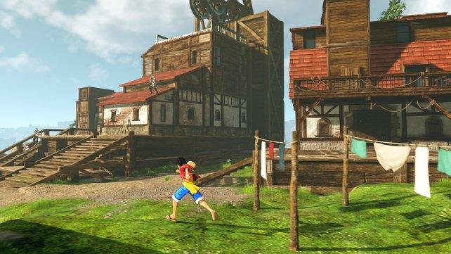 Die ausladende Insel gefällt mit Ansiedlungen und Bauten. Doch überall lauern Feinde.