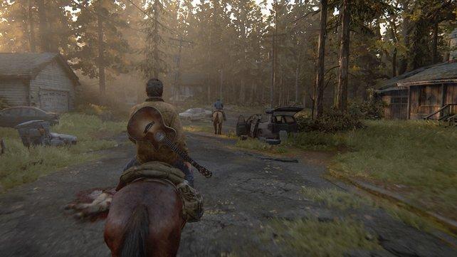 Steigt auf euren alten Gaul und folgt Tommy durch die verfallenen Siedlungen Wyomings, um zur Quarantänezone von Jackson zu gelangen.