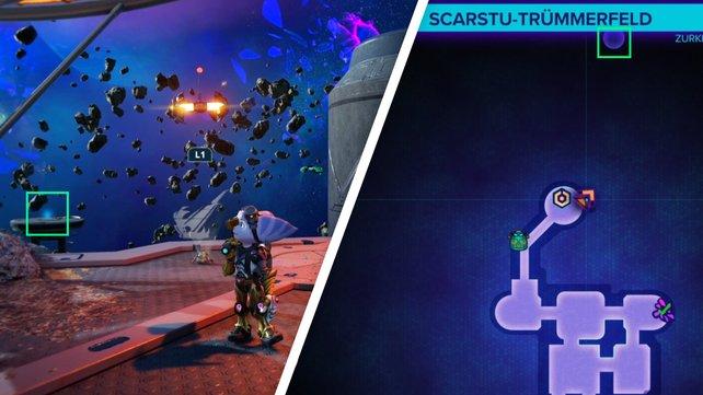 Überquert die Schlucht und schnappt euch den Spionbot auf der entfernten Plattform.