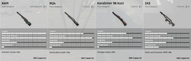 Die Scharfschützengewehre.
