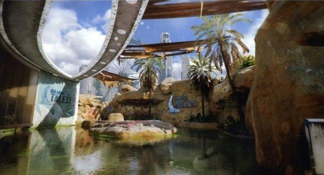 Aquarium ist ein altes, kleines Wasserpark-Resort.