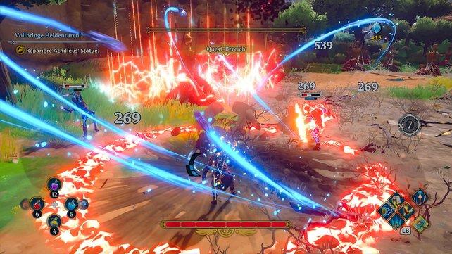 Fenyx wirbelt um ihre Feinde. Die Kämpfe mit Schwert, Hammer und Axt machen richtig Laune.