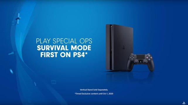 Der Stein des Anstoßes: Hinweis auf zeitexklusive Inhalte für PS4.