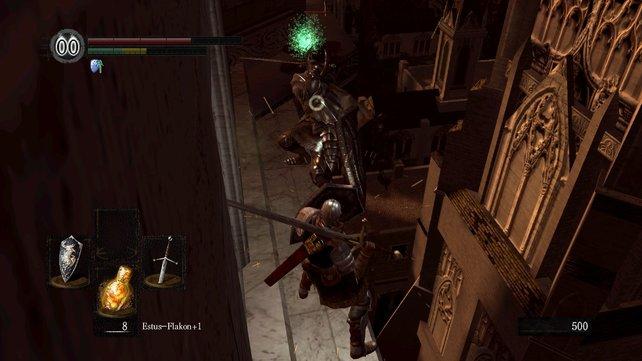 Irgendwie müsst ihr den rechten Ritter wegbekommen/töten/runtertreten. Viel Glück.
