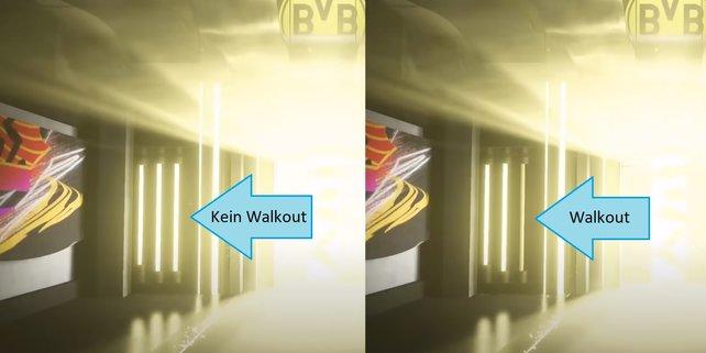 Hier der direkte Vergleich: Der rechte Bildausschnitt zeigt den blassen Leuchtstab für Walkouts auf der linken Seite des Spielertunnels. (Bildquelle: REEV auf YouTube)