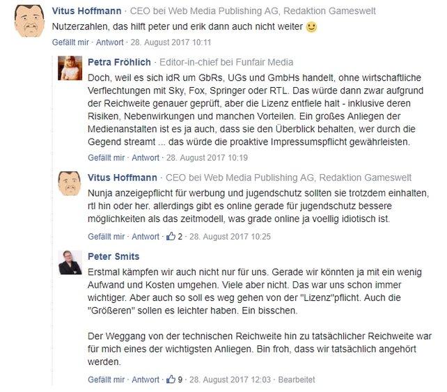 Streamer nutzen ihren Einfluss. Hier PietSmiet im Kommentarbereich auf gameswirtschaft.de