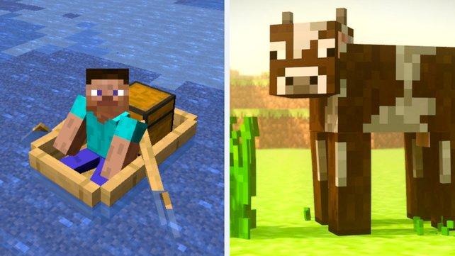 Ein Minecraft-Spieler erfindet ein völlig neues Transportmittel – dafür braucht er nur hunderte Kühe. Bildquelle: Mojang.