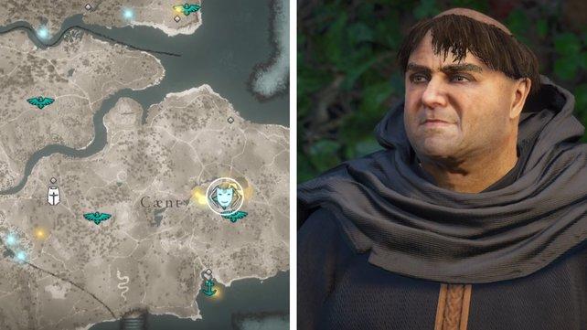 Die Karte euch zeigt den Standort von Bruder Quiescis.
