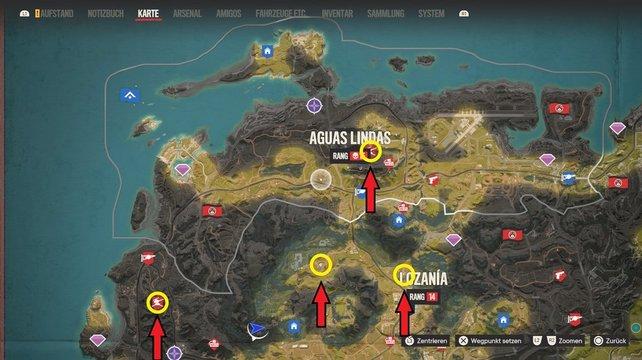 Sucht die gelben Markierungen auf, um das abgereicherte Uran und die Flugabwehranlage auf Madrugada zu finden.