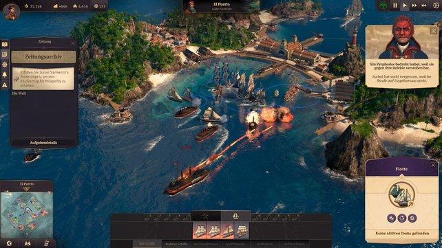 Mit eurer Schiffsflotte bereist ihr die Inselwelten, handelt mit Partnern und bekriegt euch mit Konkurrenten.