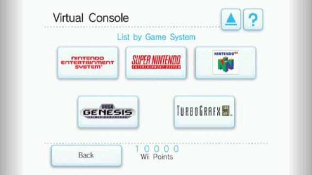 Die Virtual Console erfüllt die Träume vieler Spieleveteranen. Gerade mal fünf Euro kostet ein NES-Spiel und ein SNES-Spiel derer acht. Im Laufe der Zeit kommen sogar Nicht-Nintendo-Konsolen mit ins Programm.