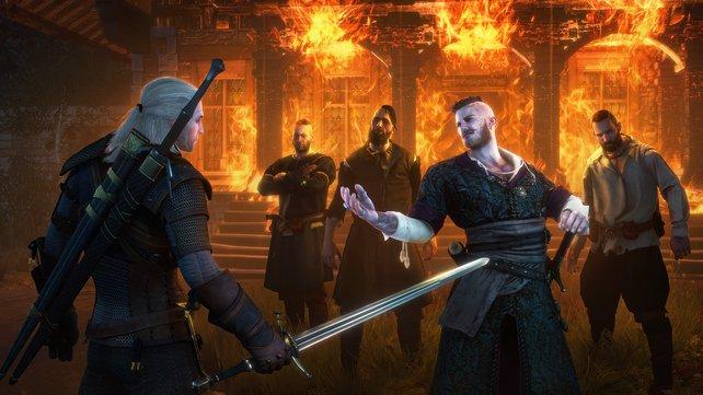 Geralt im Klinch mit seltsamen Gesellen.