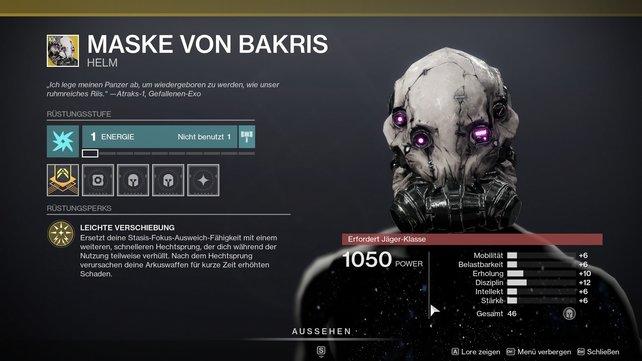 Exotischer Helm für Jäger: Maske von Bakris.