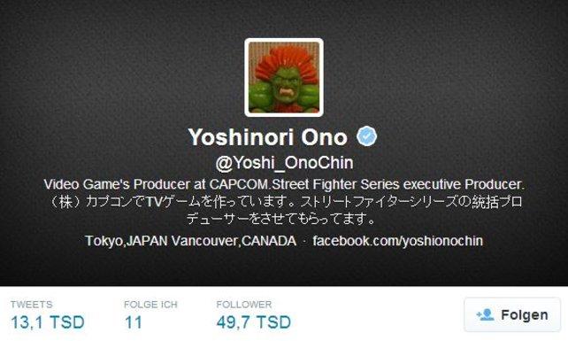 Yoshinori Ono twittert auch mal gerne auf Japanisch.