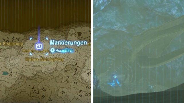 Die Karte zeigt euch den Fundort der Walknochen in Hebra.