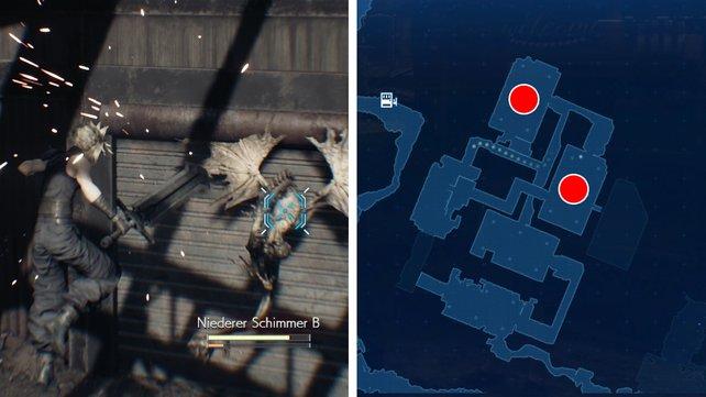 Die Karte zeigt euch die beiden Fabrikhallen, in denen ihr die Schimmer findet.