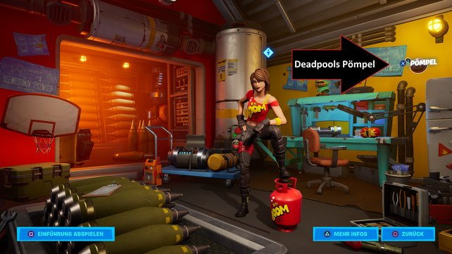 In dem erst kürzlich geöffneten Raum von TNTina findet ihr Deadpools Pömpel.