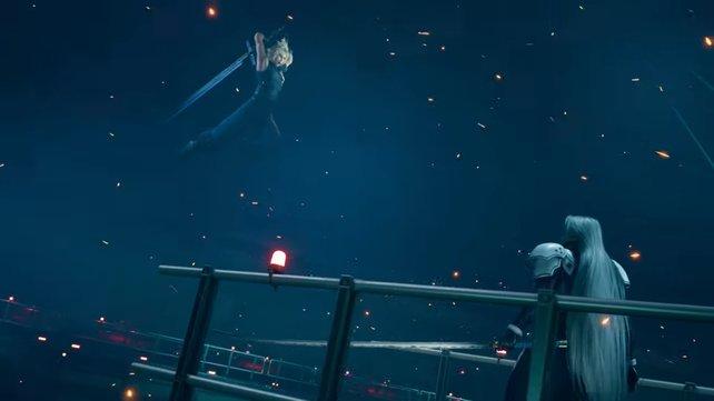 Sephiroth verfügt über eine merkwürdige Macht, mit der er Cloud beeinflussen kann. Dieser aber wehrt sich dagegen.
