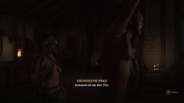 """Derjenige, der Estrid mit seinem Schiff ins Frankenreich bringen soll, """"genießt"""" gerade eine kleine BDSM-Sitzung."""
