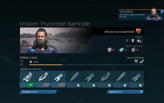 Nach genügend Schlachten dürft ihr eure Schiffe aufwerten. Das ist teuer, aber für zukünftige Einsätze bitter nötig.