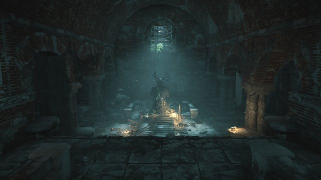 In diese Statue müsst ihr drei Dolche einsetzen, um an Thors Helm zu gelangen.