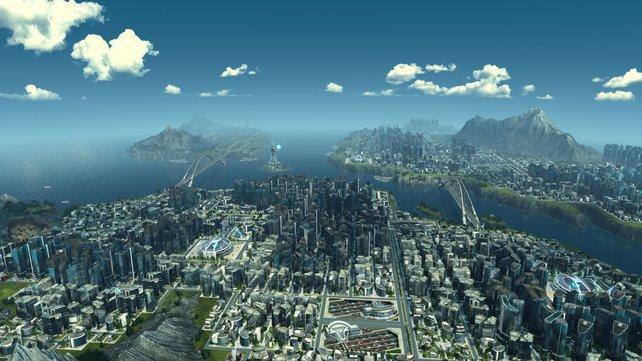 Die riesigen Städte sehen in Anno 2205 beeindruckend aus.