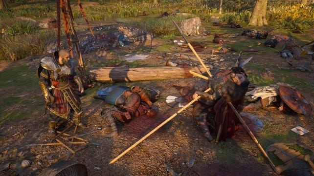 Auf dem Weg nach Aethelney kommt ihr am Schlachtfeld vorbei, wo auch der legendäre Ubba Ragnarsson sein Ende fand.
