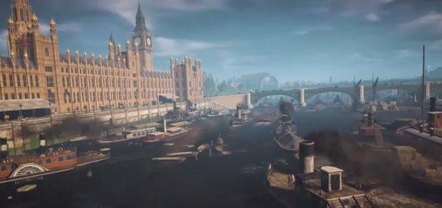 "Berühmte Sehnswürdikeiten von London: Palace of Westminster (House of Commons and of the British Parliament) und der berühmte ""Big Ben"" - Uhrturm"