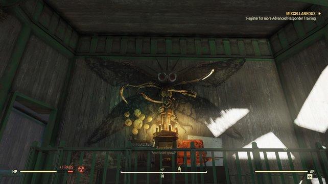Ihr findet den überaus unheimlichen Mothman-Altar. Wenn ihr euch jetzt umdreht und jemand steht hinter euch, darf gerne vor Schreck gejodelt werden.