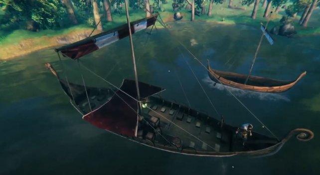 Das Trailer-Schiff in Valheim: Es zu besitzen, ist nicht schwer. Aber sein Rezept bleibt unbekannt. Bildquelle: YouTube/Aurélien Vivet