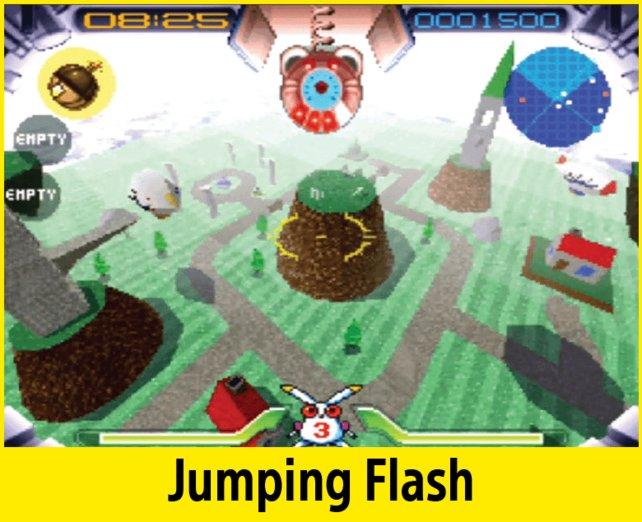 """Das Spiel Jumping Flash ist eines der ersten 3D-""""Jump and Runs""""."""
