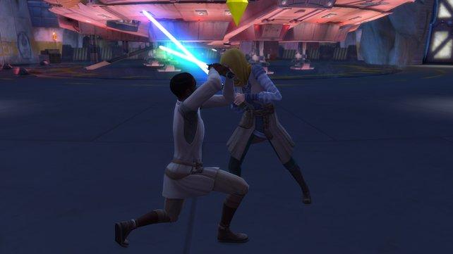 Die Laserschwertkämpfe nehmen eure Sims ziemlich ernst. Trainiert eure Fitness-Fähigkeit, um als Sieger hervorzugehen.
